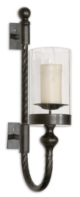 Uttermost Garvin Twist Metal Sconce With Candle by Carolyn Kinder
