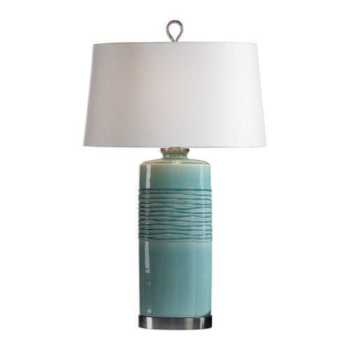 Uttermost Rila Distressed Teal Table Lamp by Jim Parsons