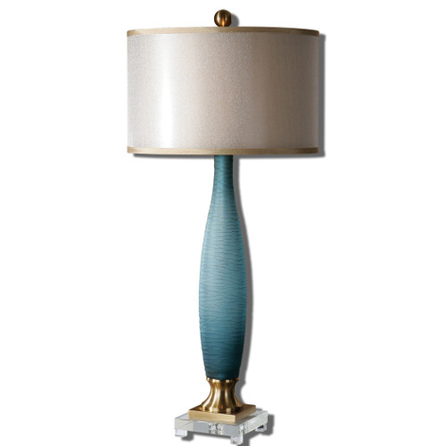 Uttermost Alaia Blue Glass Table Lamp by Carolyn Kinder