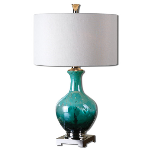 Uttermost Yvonne Green Blue Glass Table Lamp by Billy Moon