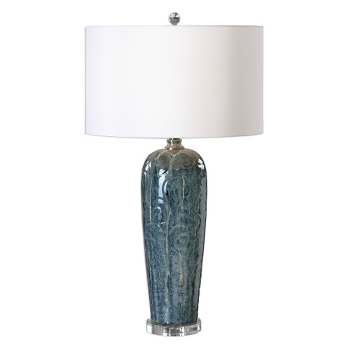 Uttermost Maira Blue Ceramic Table Lamp by Jim Parsons
