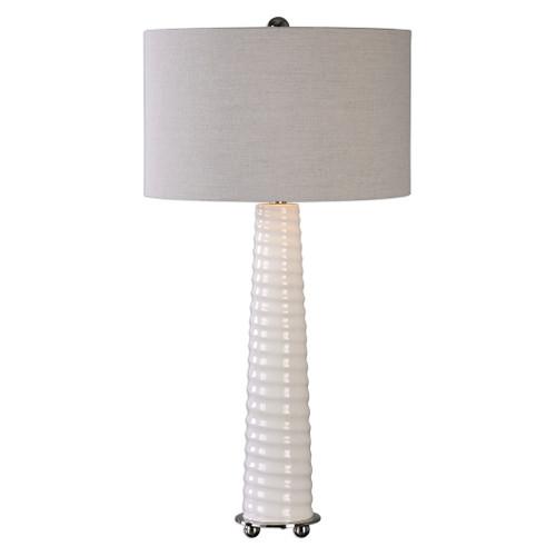 Uttermost Mavone Gloss White Table Lamp by Jim Parsons