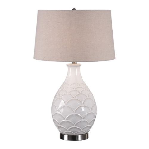 Uttermost Camellia Glossed White Table Lamp by David Frisch