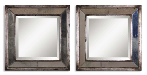 Uttermost Davion Squares Silver Mirror Set/2 by Matthew Williams