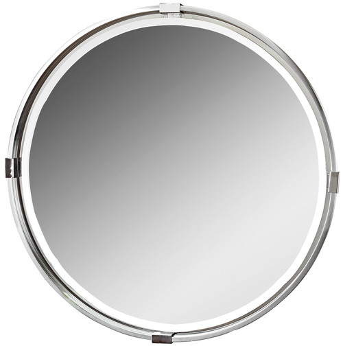 Uttermost Tazlina Brushed Nickel Round Mirror by Carolyn Kinder
