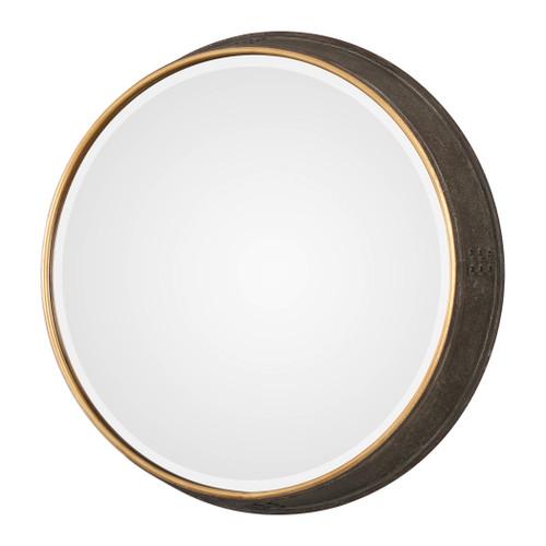 Uttermost Sturdivant Antiqued Gold Round Mirror by John Kowalski