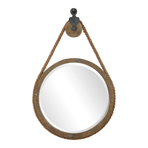 Uttermost Melton Round Pulley Mirror by Carolyn Kinder