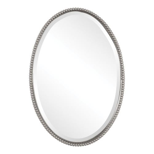 Uttermost Sherise Brushed Nickel Oval Mirror by Carolyn Kinder