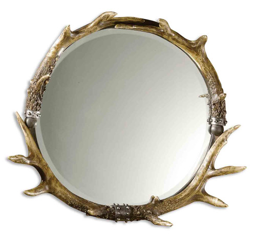 Uttermost Stag Horn Round Mirror  by Carolyn Kinder