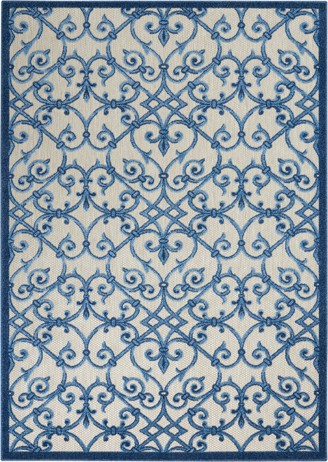 Nourison Aloha Blue Patio Area Rug - NOR-ALH21-Grey-Blue
