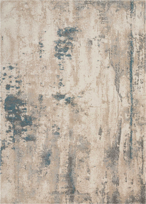 Nourison Maxell Grey Abstract Area Rug - NOR-MAE17-Ivory-Teal