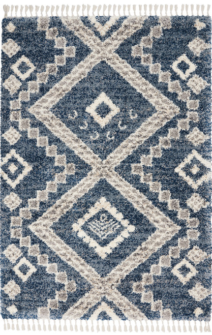 Nourison Oslo OSL02 Dark Blue and Grey Scandinavian Area Rug - NOR-OSL02-Denim Blue