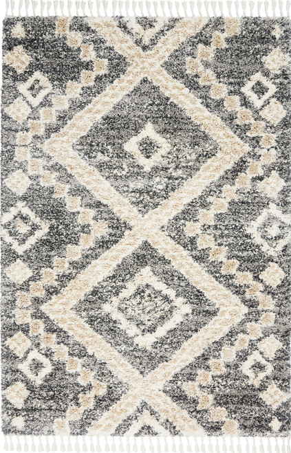 Nourison Oslo OSL02 Charcoal Grey Scandinavian Area Rug - NOR-OSL02-Grey-Ivory