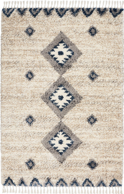 Nourison Oslo OSL03 Ivory and Blue Scandinavian Area Rug - NOR-OSL03-Ivory-Blue