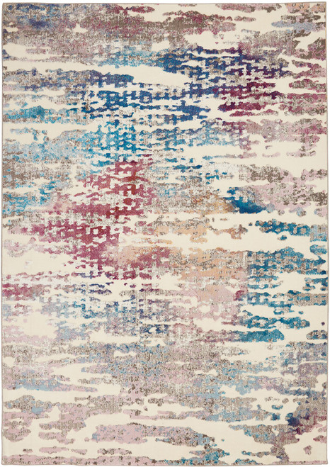 Nourison Radiant RAD10 Red and Blue Multicolor Low-pile Hallway Area Rug - NOR-RAD10-Ivory-Multicolor