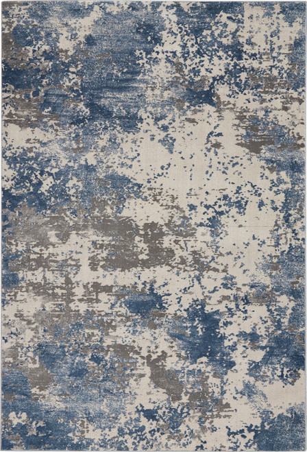 Nourison Rustic Textures RUS08 Blue and Grey Area Rug - NOR-RUS08-Grey-Blue