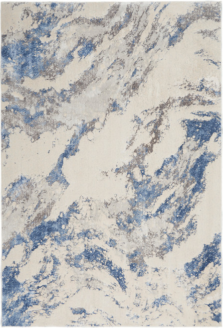Nourison Silky Textures Area Rug - NOR-SLY03-Blue-Ivory-Grey