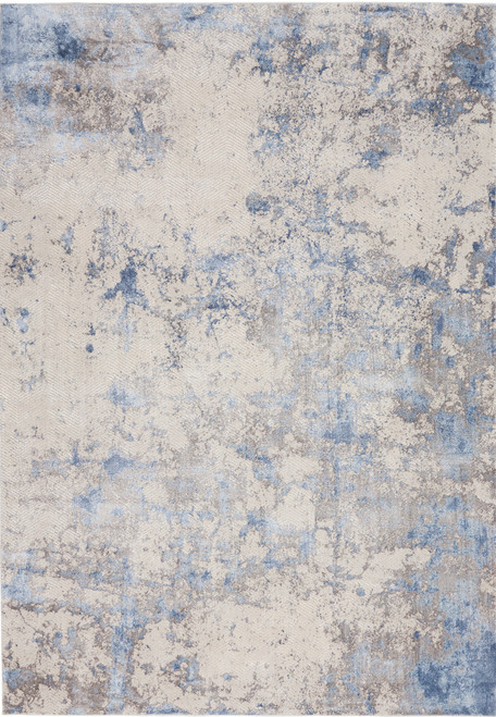 Nourison Silky Textures Area Rug - NOR-SLY04-Blue-Ivory-Grey