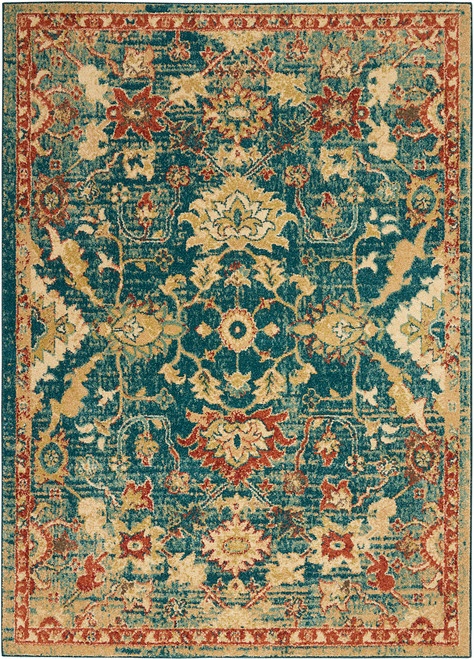 Nourison Antique Persian Area Rug - NOR-TRQ02-Teal-Blue