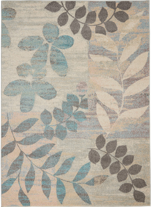 Nourison Tranquil TRA01 White and Blue Hallway Area Rug - NOR-TRA01-Ivory-Light Blue