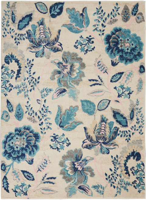 Nourison Tranquil TRA02 Blue and White Hallway Area Rug - NOR-TRA02-Ivory-Light Blue