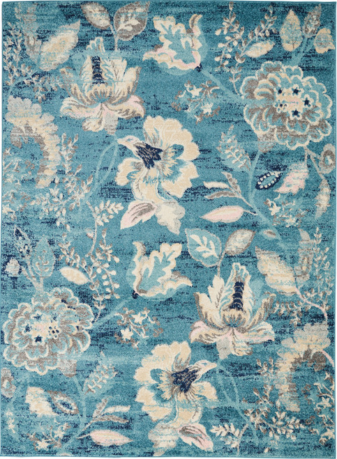 Nourison Tranquil TRA02 Turquoise Blue and White Hallway Area Rug - NOR-TRA02-Turquoise