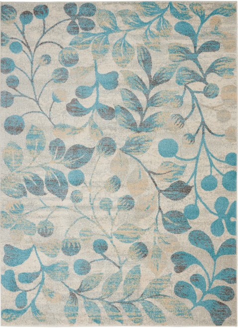 Nourison Tranquil TRA03 Turquoise and Beige Hallway Area Rug - NOR-TRA03-Ivory-Turquoise