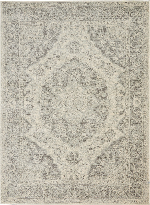 Nourison Tranquil TRA05 Grey and White Hallway Area Rug - NOR-TRA05-Ivory-Grey