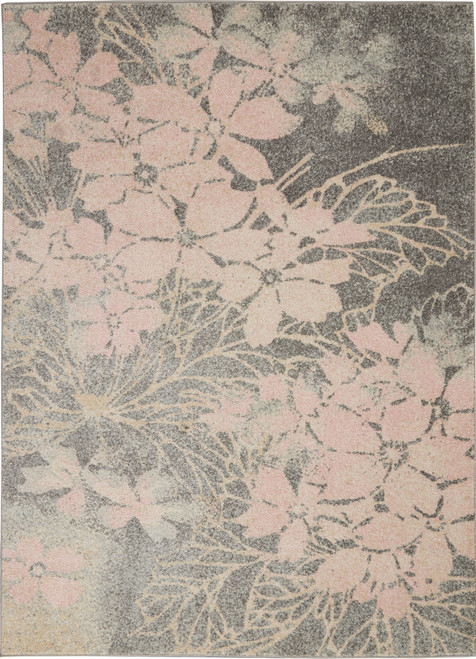 Nourison Tranquil TRA08 Pink and Grey Hallway Area Rug - NOR-TRA08-Grey-Pink