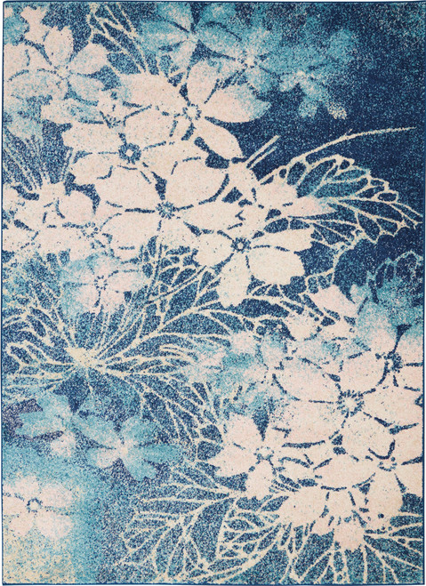 Nourison Tranquil TRA08 Navy Blue and White Hallway Area Rug - NOR-TRA08-Navy-Pink