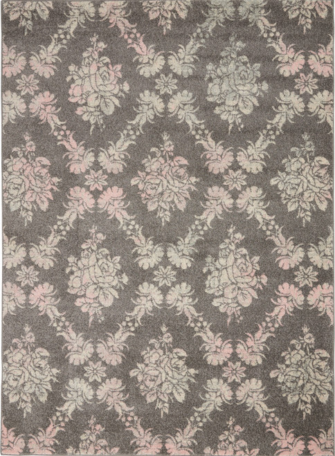 Nourison Tranquil TRA09 Pink and Grey Hallway Area Rug - NOR-TRA09-Grey-Pink