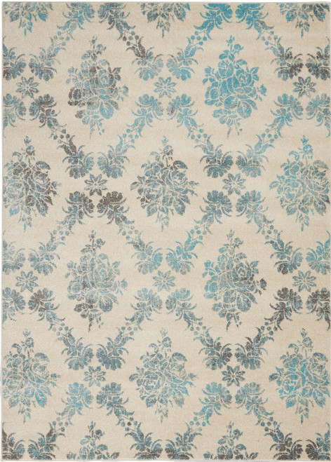 Nourison Tranquil TRA09 Turquoise and White Hallway Area Rug - NOR-TRA09-Ivory-Turquoise