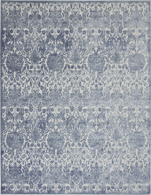 Nourison Vintage Decor Slate Blue and White Vintage Area Rug - NOR-VID01-Smokey Grey