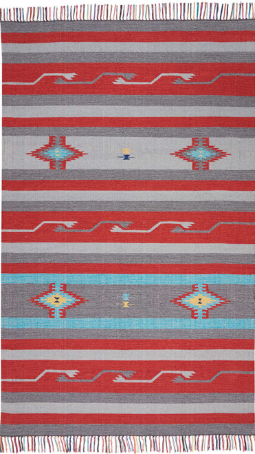 Nourison Baja Grey-Red Area Rug - NOR-BAJ01-Grey-Red