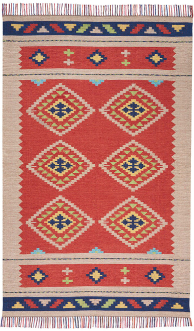 Nourison Baja Red-Beige Area Rug - NOR-BAJ02-Red-Beige