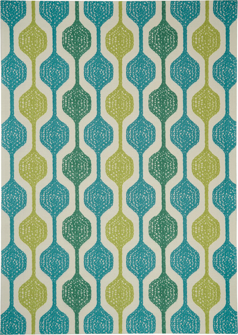 Waverly Sun N Shade SND70 Blue and Green Oversized Indoor-outdoor Rug - SND70 Ivory Aqua