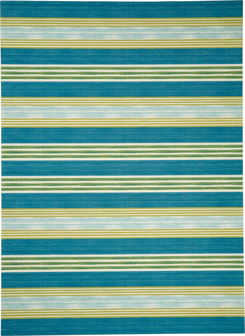 Waverly Sun N Shade SND71 Blue and Green Striped - SND71 Green Teal