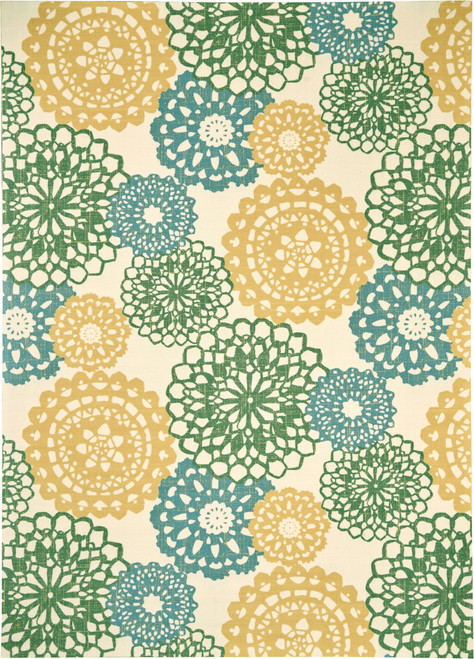 Waverly Sun N Shade SND72 Blue and Green Ornate Medallion - SND72 Ivory Gold