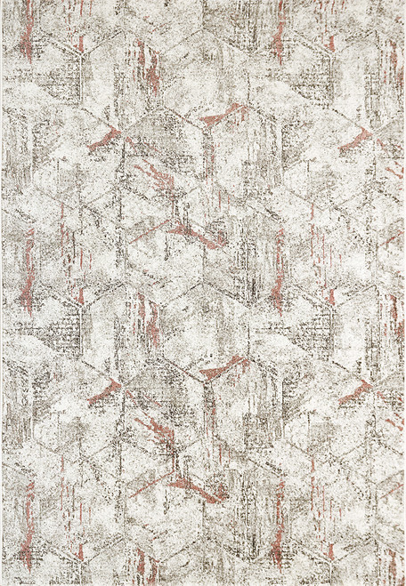 Dynamic Rugs Avenue 3405-6111 Ivory-Grey-Red Contemporary