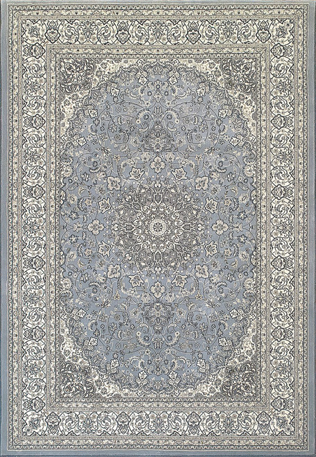 Dynamic Rugs Ancient Garden 57119-4646 Steel Blue-Cream Traditional
