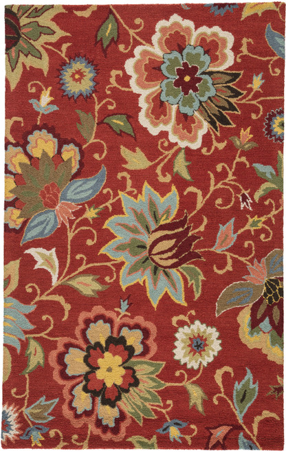 Jaipur Living Zamora Handmade Floral Red-Multicolor Area Rug  - JAI-Red HAC11