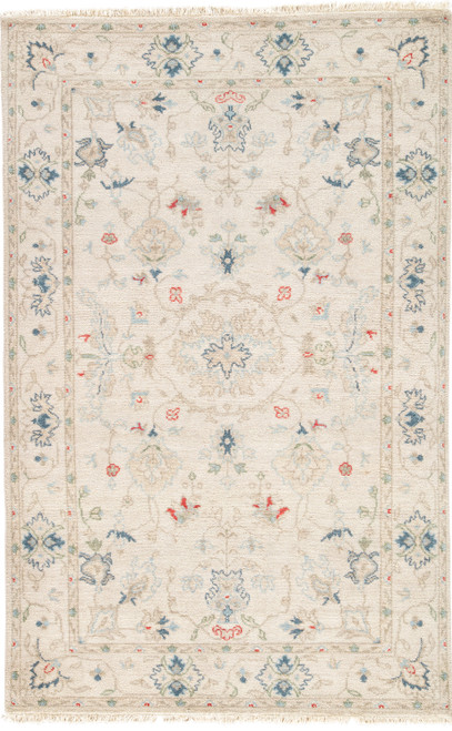 Jaipur Living Hacci Hand-Knotted Floral Cream-Blue Area Rug  - JAI-Cream JAR01