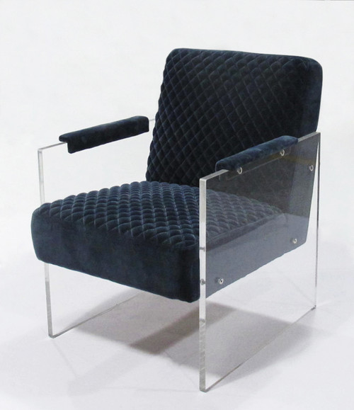 Pasargad Home Tribecca Collection Acrylic and Velvet Accent Chair, Navy
