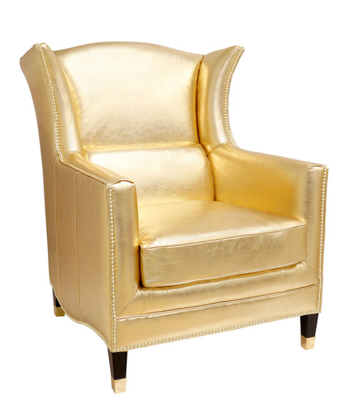 Pasargad Home Vicenza Collection Wing Chair, Gold