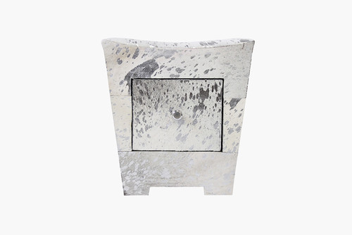 Pasargad Home Forest Collection Cowhide Silver Side Table