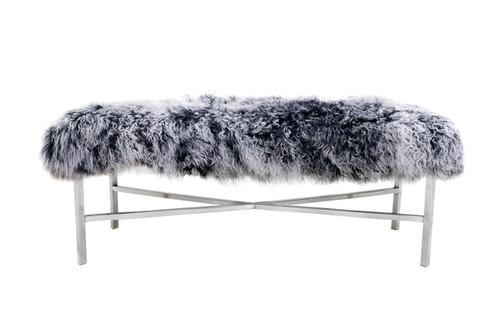 Pasargad Home Mongolian Fur Bench