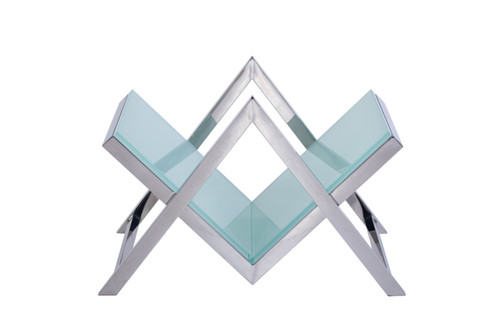 Pasargad Luxe Collection Glass & Steel Magazine Holder