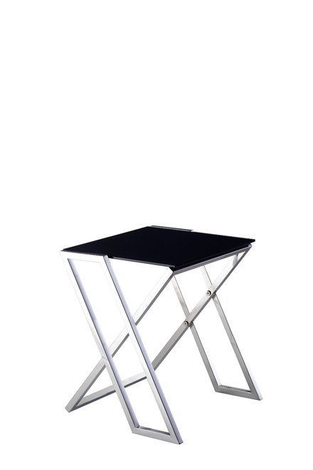 Pasargad Luxe Collection Glass & Steel End Table