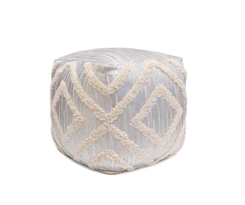 Pasargad Grandcanyon Collection Cotton Pouf ,Ivory