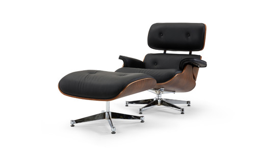 Pasargad Home Florence Leather Lounge Chair, Black